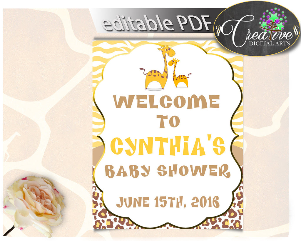 Giraffe Baby Shower WELCOME sign editable, boy or girl baby shower in brown yellow theme printable, digital files, instant download - sa001