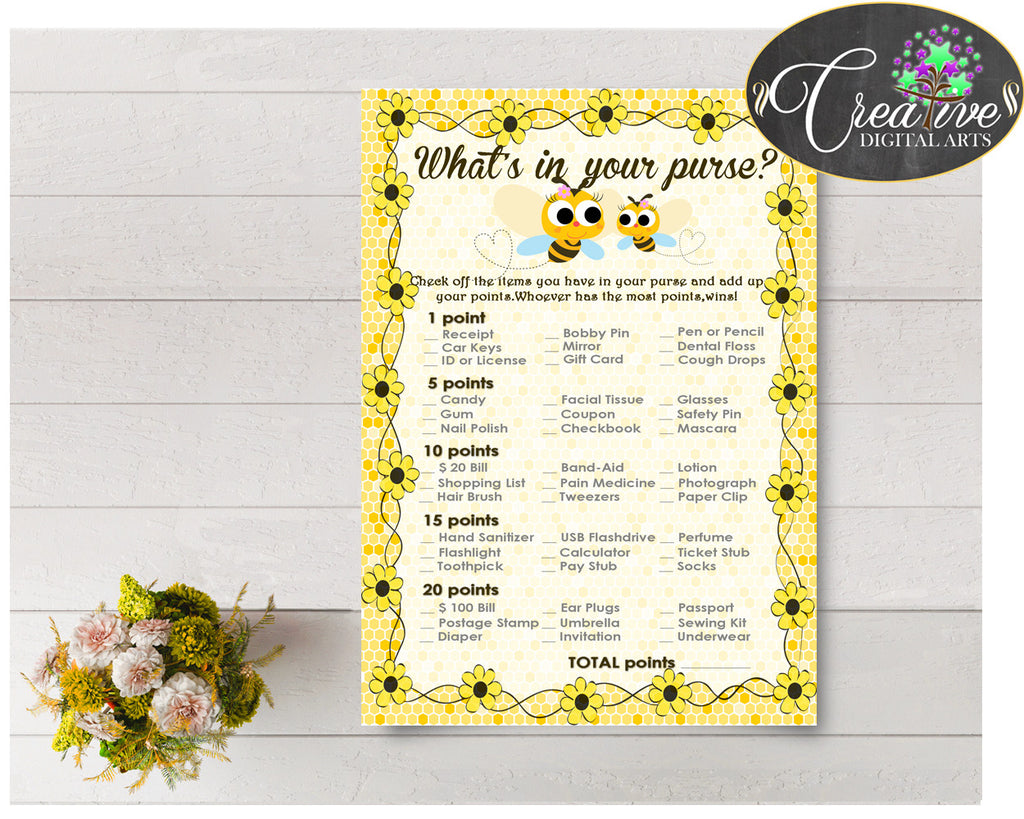WHAT'S In YOUR PURSE baby shower game with yellow bee printable, digital Jpg Pdf, instant download - bee01
