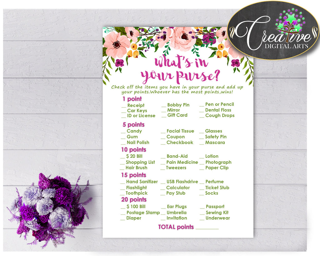 WHAT'S In YOUR PURSE floral baby girl shower game watercolor flowers pink green theme printable, digital Jpg Pdf, instant download - flp01