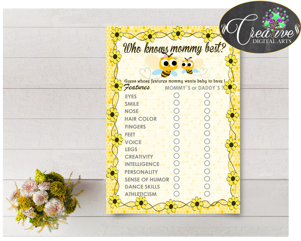Who KNOWS MOMMY BEST baby shower game with yellow bee and honey printable, jpg pdf digital files, instant download - bee01