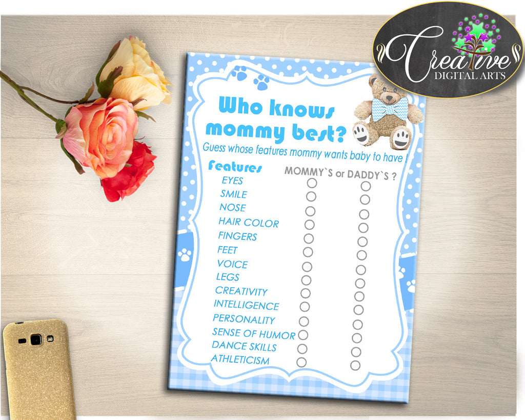 Who KNOWS MOMMY BEST baby shower teddy bear game, boy baby shower, baby shower printables, digital files Jpg Pdf, instant download - tb001