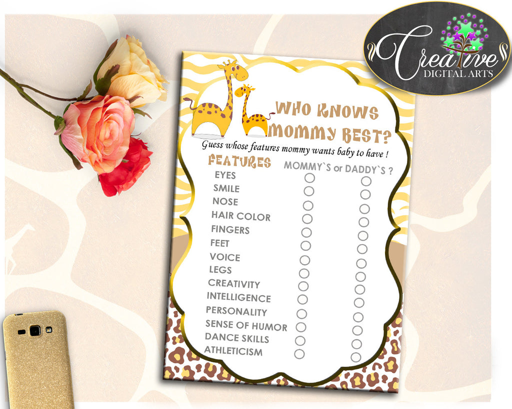 Giraffe Baby Shower Who KNOWS MOMMY BEST game, girl or boy baby shower theme printable, digital files Jpg Pdf, instant download - sa001