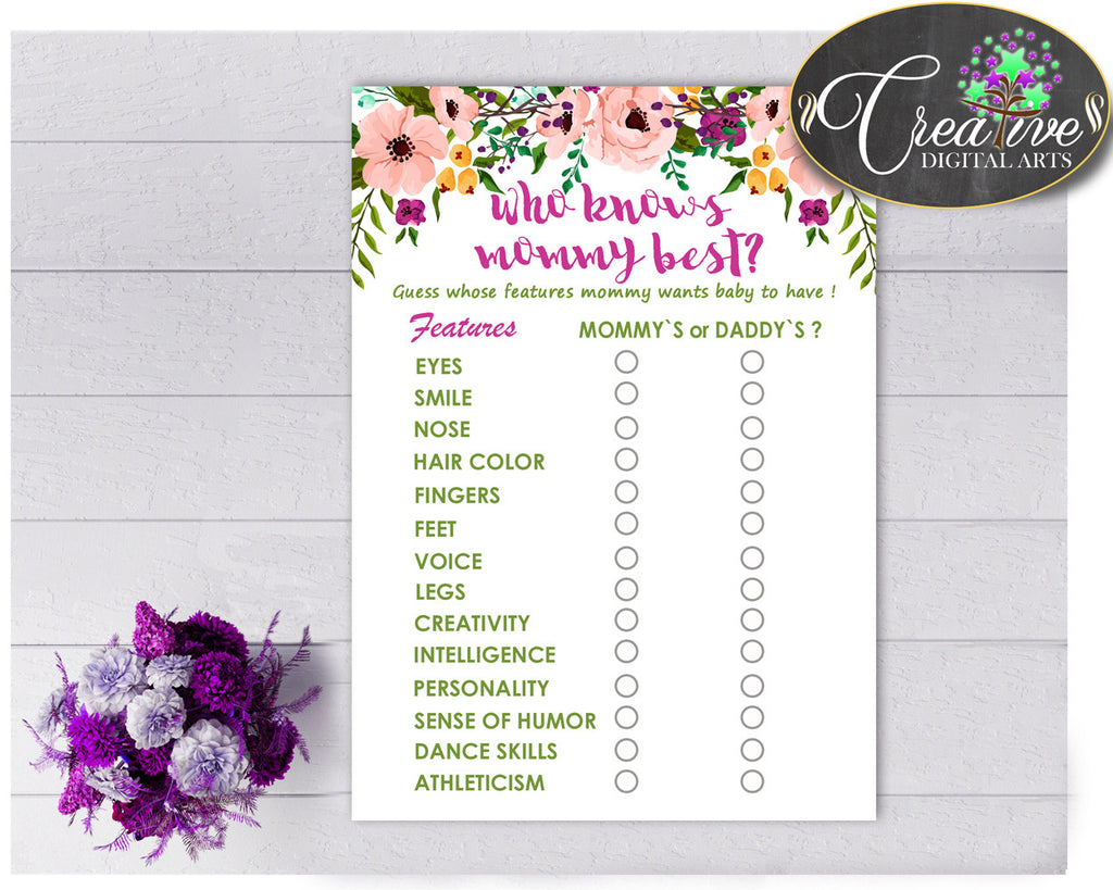 Who KNOWS MOMMY BEST watercolor flowers baby shower game with floral pink theme printable, digital files Jpg Pdf, instant download - flp01