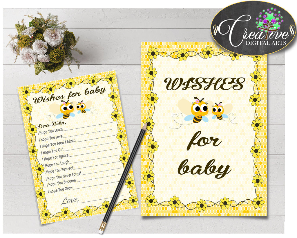 WISHES FOR BABY activity advice for baby shower with yellow bee honey printable, Jpg Pdf, instant download - bee01