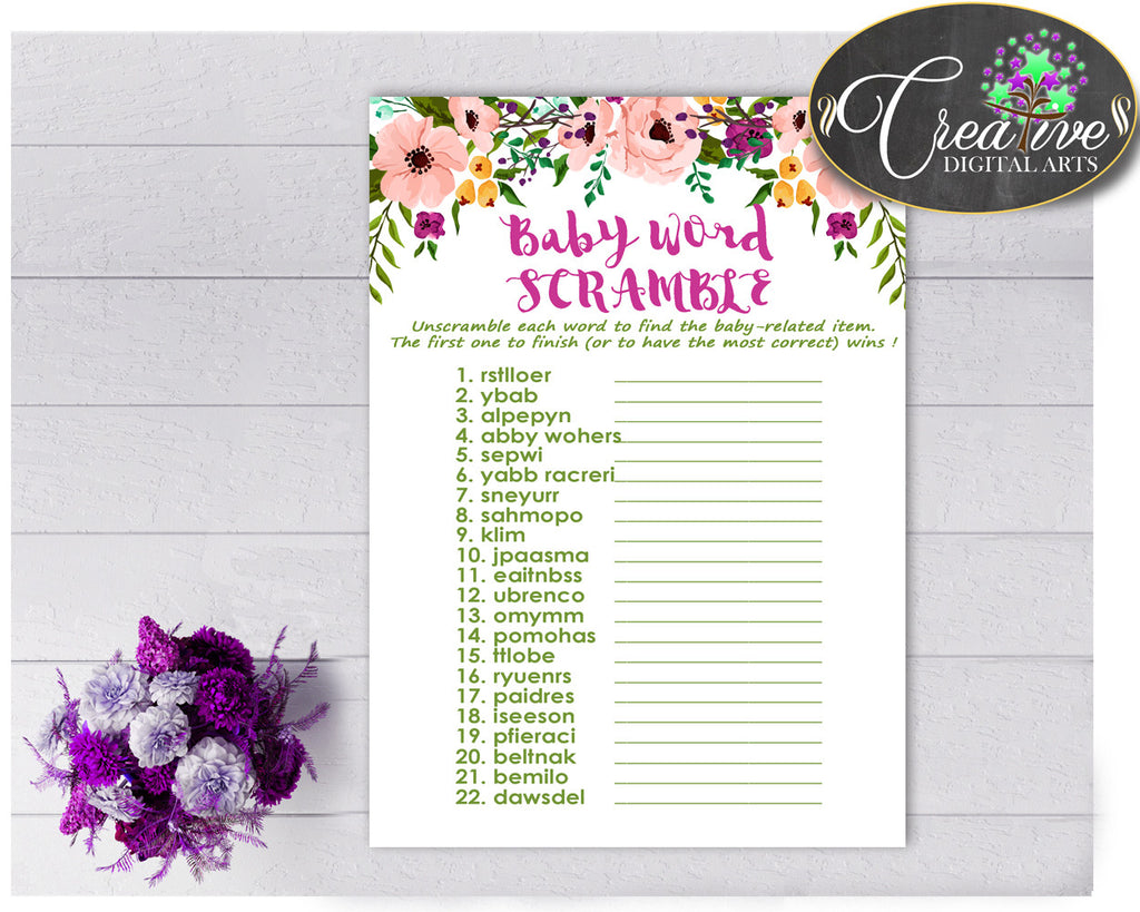 Baby Shower Girl Flowers WORD SCRAMBLE game with floral pink green purple theme printable, digital files, jpg pdf, instant download - flp01