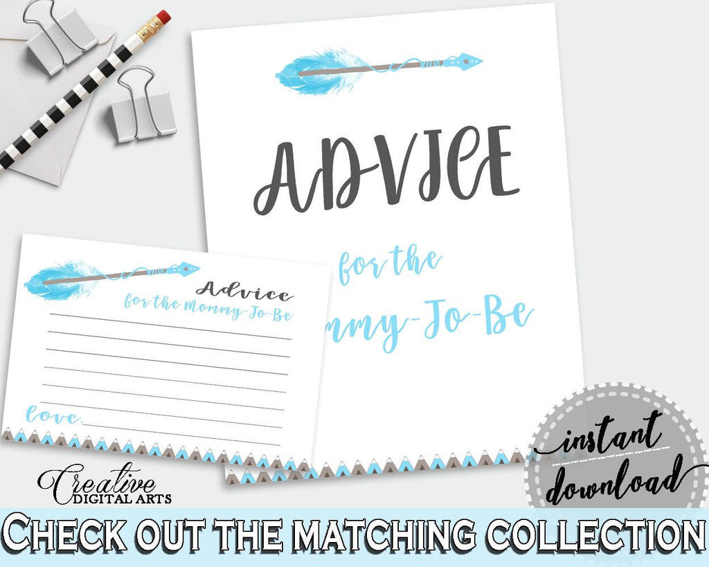 Advice Cards Baby Shower Advice Cards Aztec Baby Shower Advice Cards Blue White Baby Shower Aztec Advice Cards - QAQ18 - Digital Product
