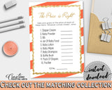 Baby Shower The PRICE IS RIGHT game with orange white striped theme printable, digital files Jpg Pdf, instant download - bs003