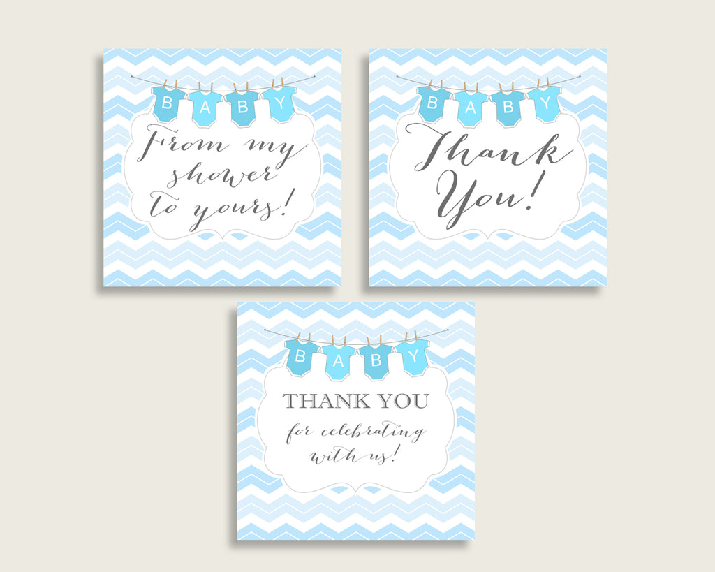 Chevron Baby Shower Square Thank You Tags 2 inch Printable, Blue White Boy Shower Gift Tags, Hang Tags Labels, Instant Download cbl01