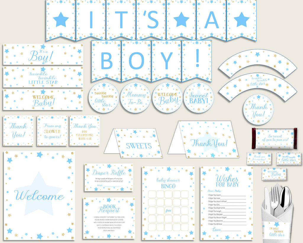 Blue Gold Baby Shower Decorations Boy Kit, Stars Baby Shower Party Package Printable, Instant Download, Most Popular Little Star bsr01