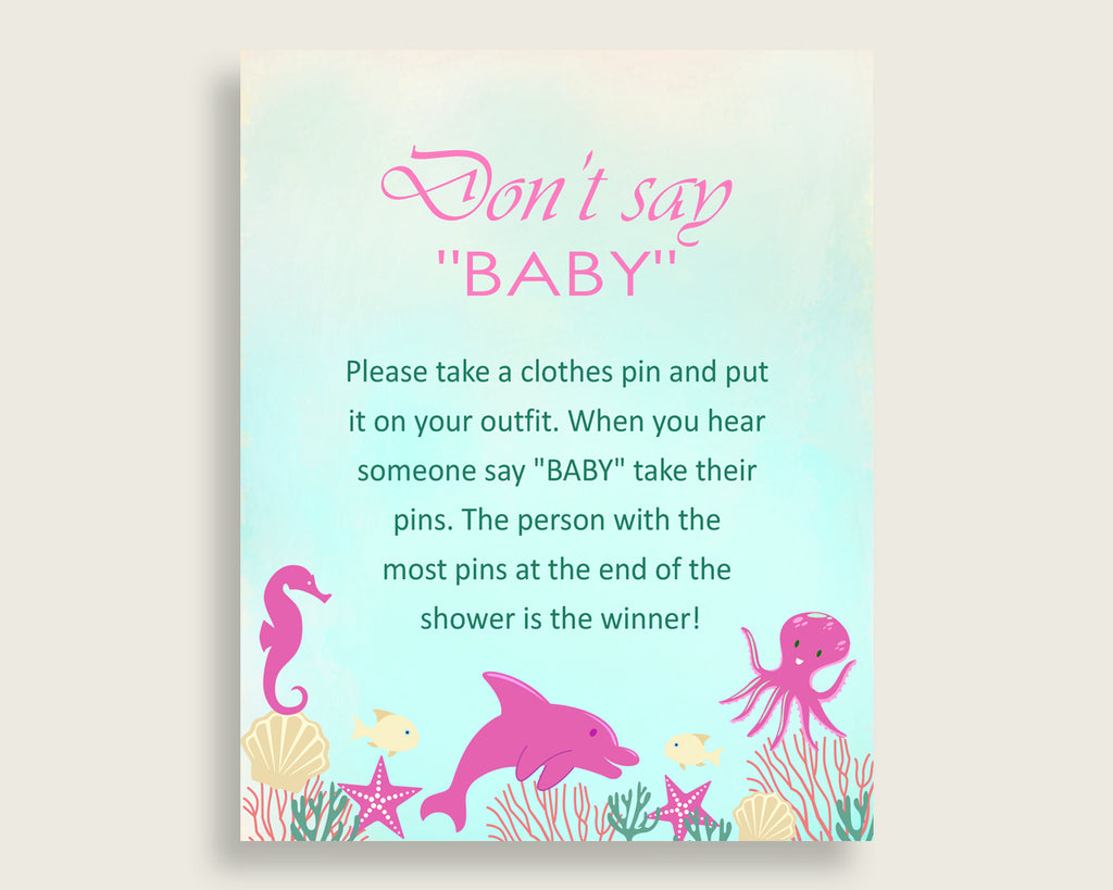 Pink Green Don't Say Baby Printable Game, Girl Baby Shower Under The Sea Game Sign, Instant Download, 8x10, Popular Ocean Octopus uts01