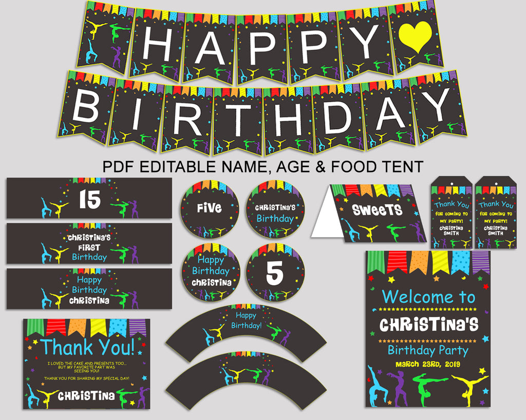 Birthday Gymnastics Party Decor Editable Package Rainbow Black Decoration Kit Girl QKROL