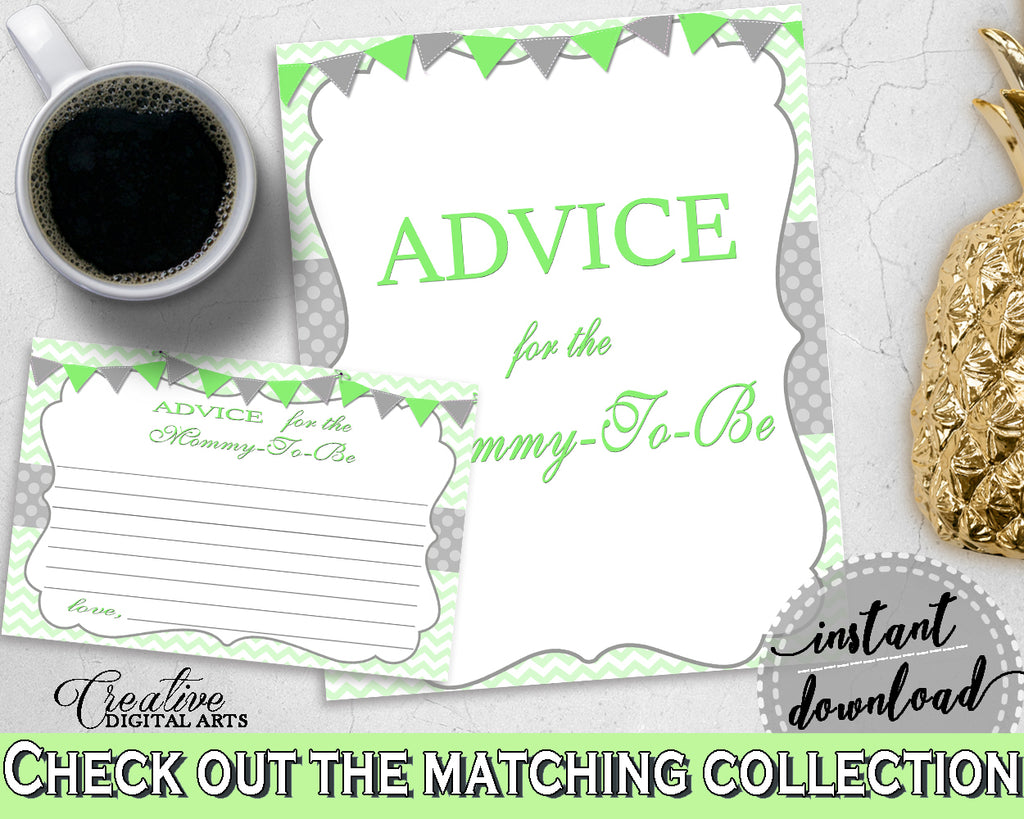 Advice For The Mommy To Be and Advice For The New Parents baby shower activities in chevron green theme, Jpg Pdf, instant download - cgr01