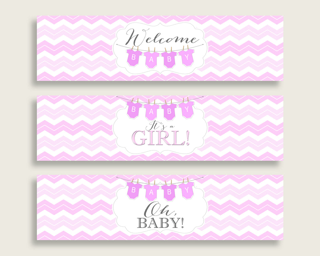 Pink White Water Bottle Labels Printable, Chevron Water Bottle Wraps, Chevron Baby Shower Girl Bottle Wrappers, Instant Download, cp001