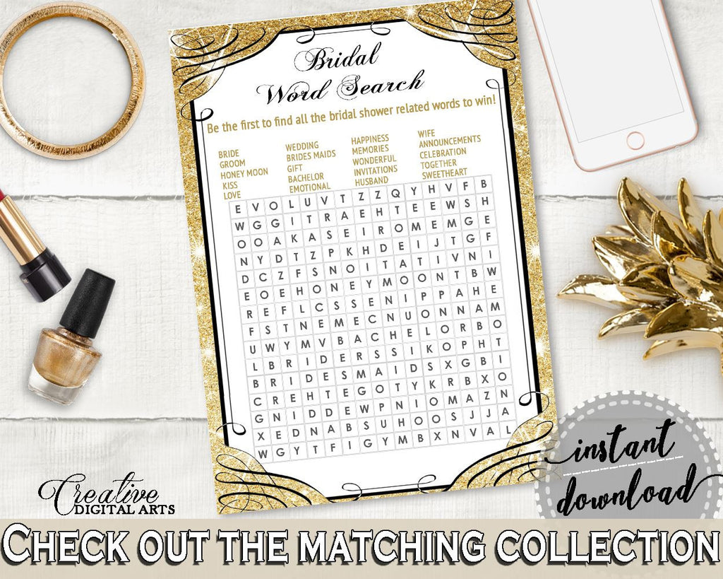 Word Search in Glittering Gold Bridal Shower Gold And Yellow Theme, rows of  squares, blazing shower, party décor, party supplies - JTD7P - Digital