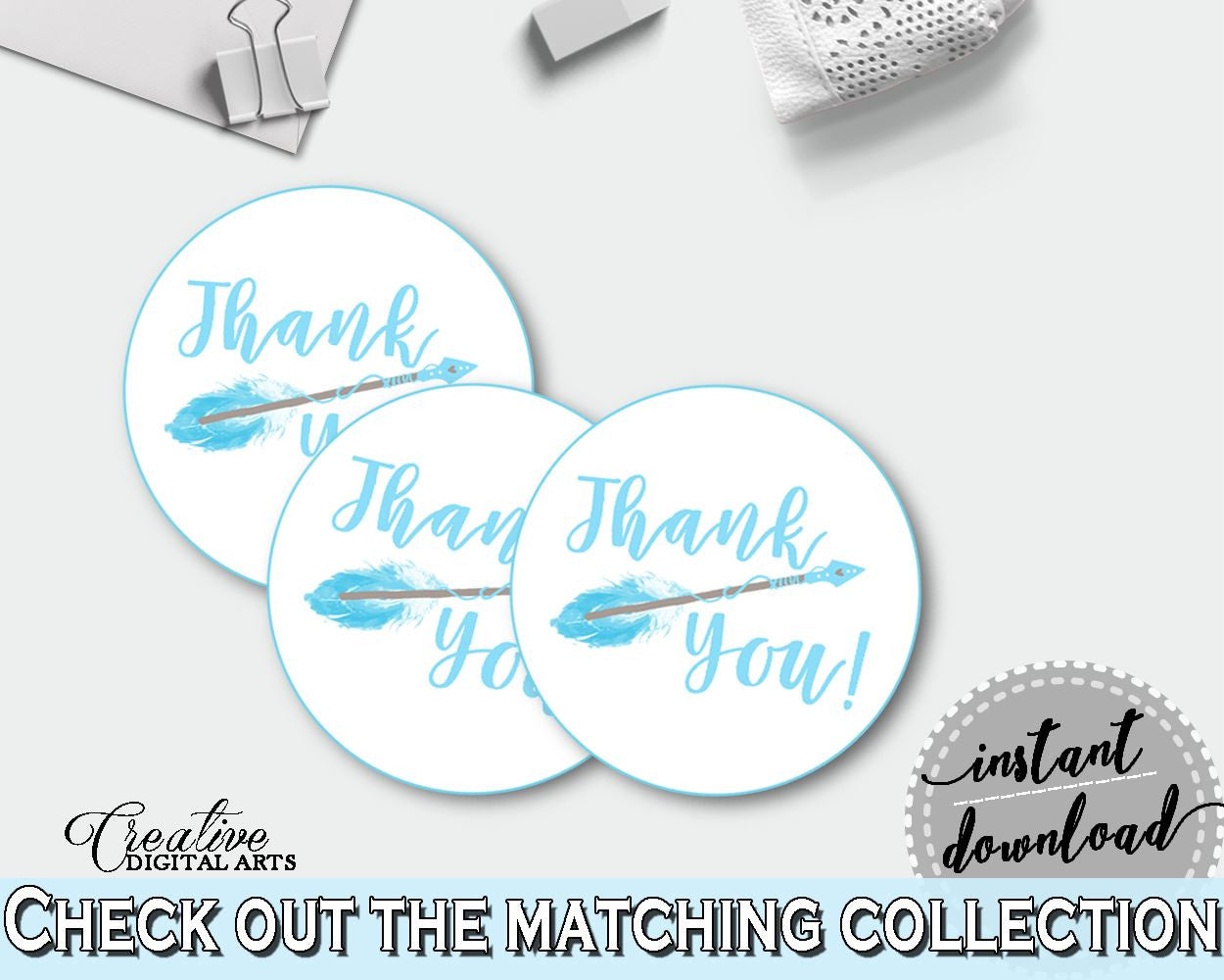 Round Tags Baby Shower Round Tags Aztec Baby Shower Round Tags Blue White Baby Shower Aztec Round Tags - QAQ18 - Digital Product