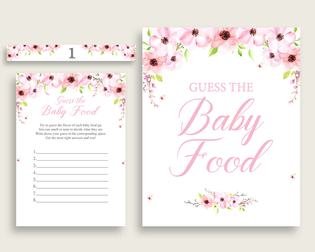 Pink Green Flower Blush Guess The Baby Food Game Printable, Girl Baby Shower Food Guessing Game Activity, Instant Download, Watercolor VH1KL