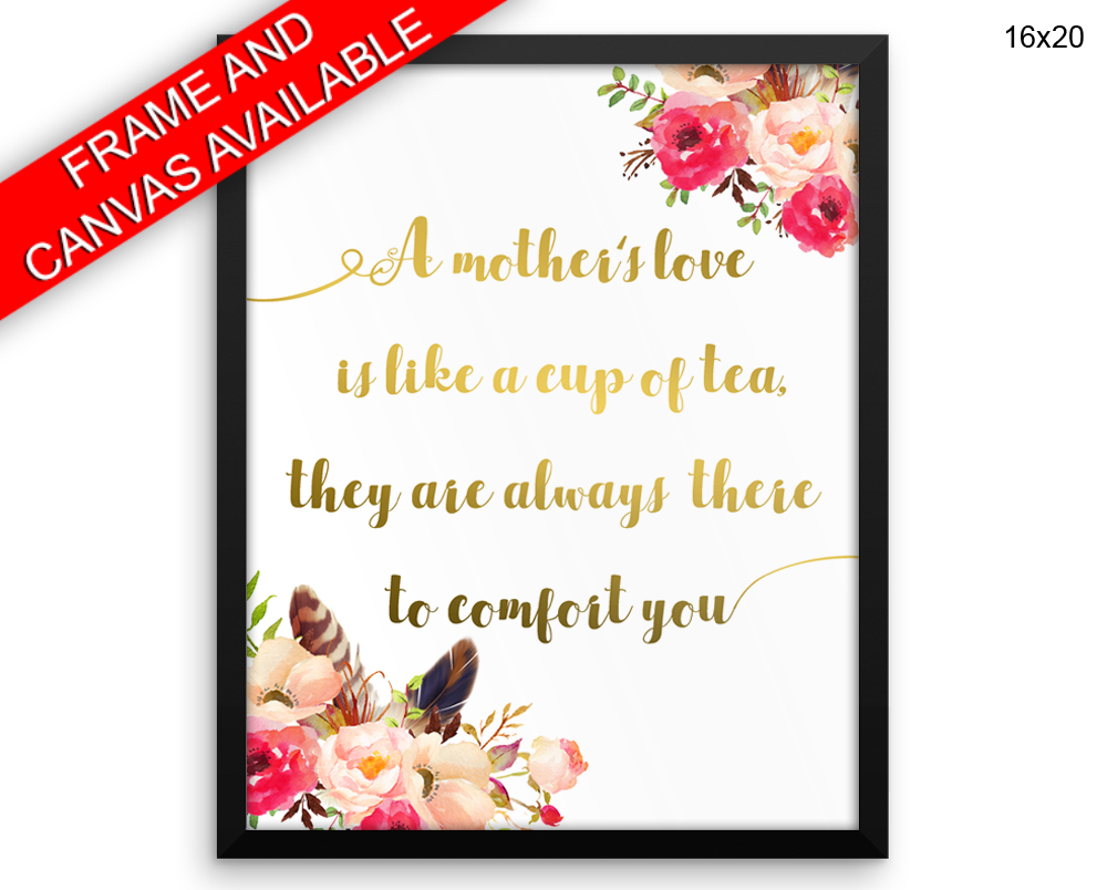 Mothers Day Print, Beautiful Wall Art with Frame and Canvas options available Gift Decor