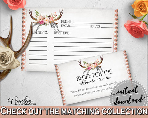 Antlers Flowers Bohemian Bridal Shower Recipe For The Bride To Be in Gray and Pink, shower recipe cards, printable files, prints - MVR4R - Digital Product