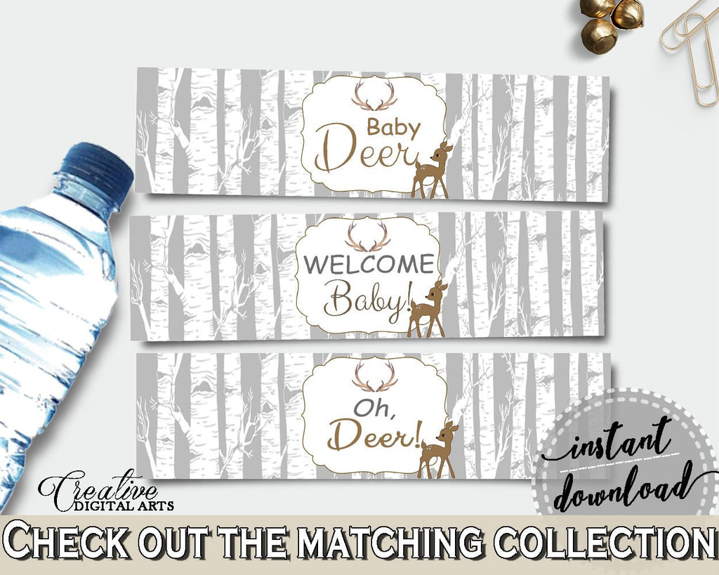 Bottle Labels Baby Shower Bottle Labels Deer Baby Shower Bottle Labels Baby Shower Deer Bottle Labels Gray Brown Party Stuff Z20r3 Digital Product