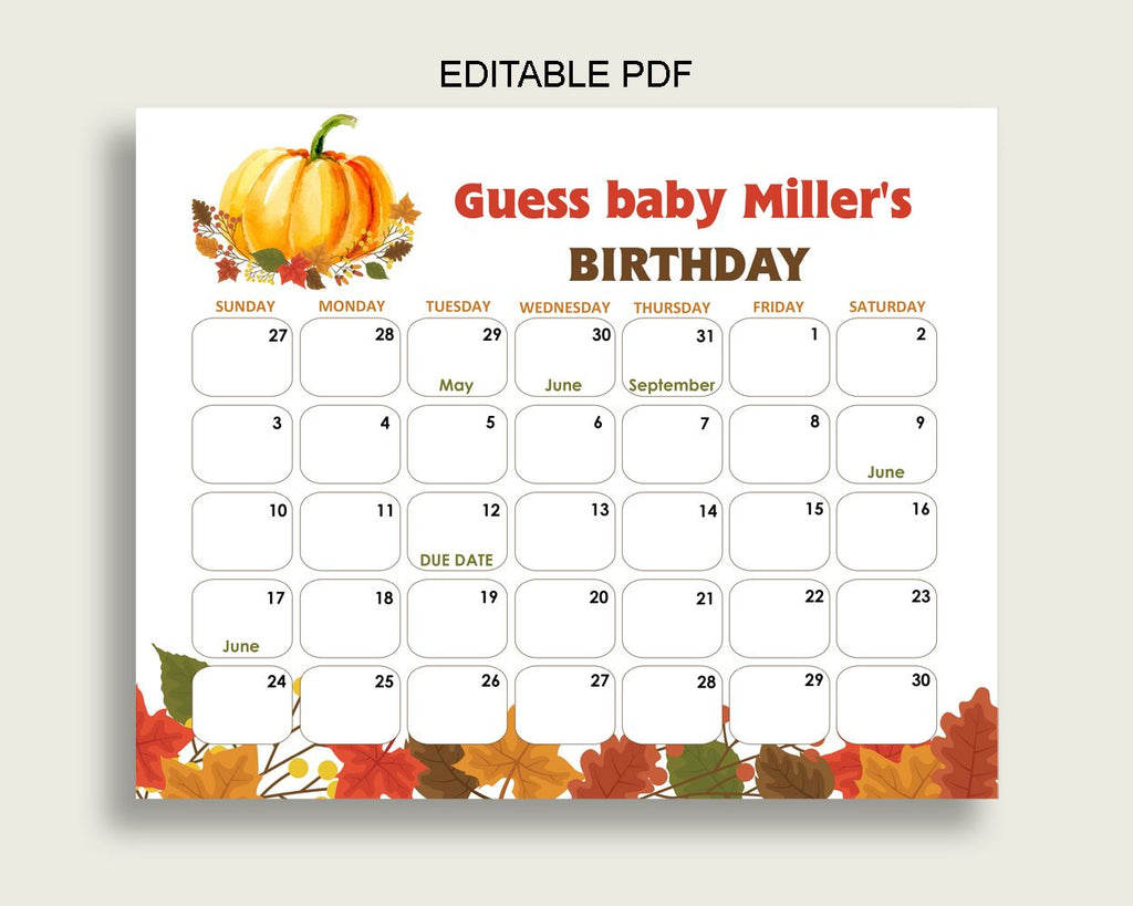 Birthday Predictions Baby Shower Birthday Predictions Fall Baby Shower Birthday Predictions Baby Shower Pumpkin Birthday Predictions BPK3D - Digital Product