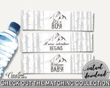 Bottle Labels Baby Shower Bottle Labels Adventure Mountain Baby Shower Bottle Labels Gray White Baby Shower Adventure Mountain Bottle S67CJ - Digital Product