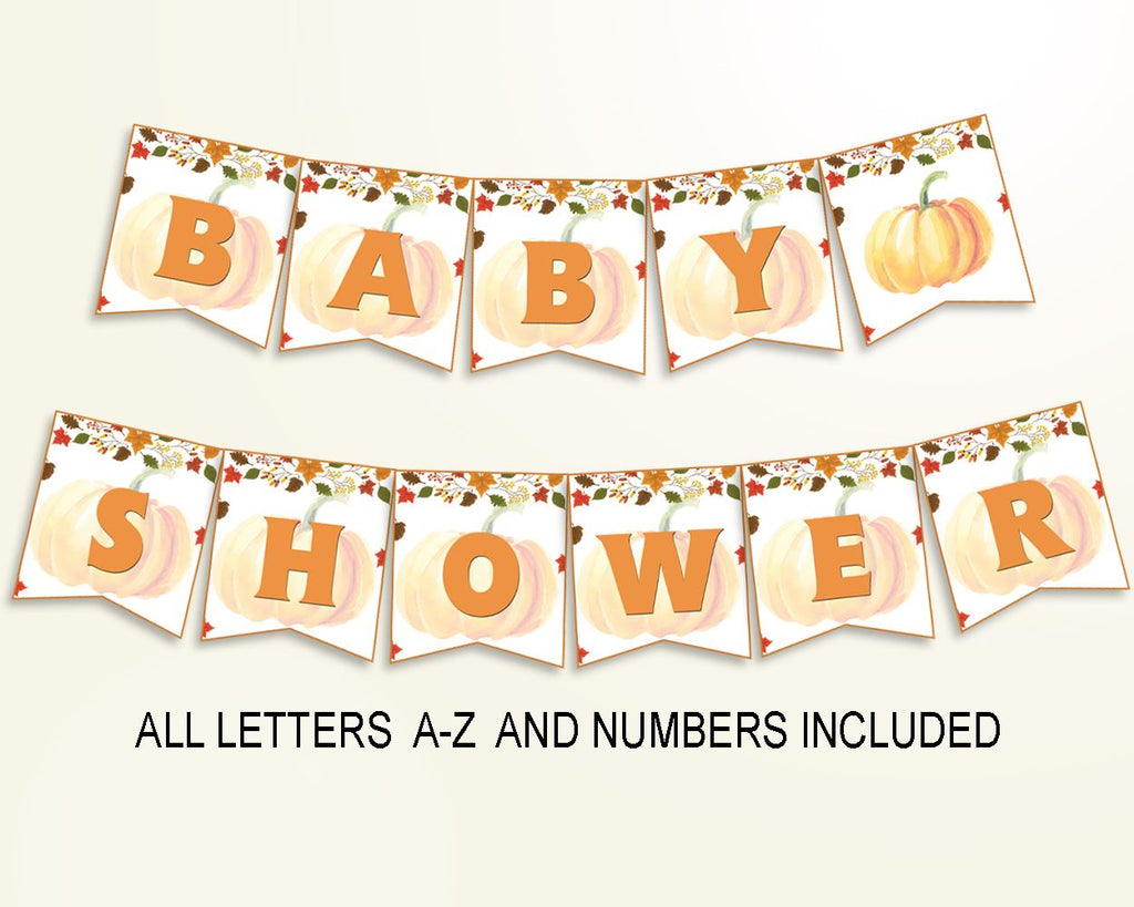 Banner Baby Shower Banner Autumn Baby Shower Banner Baby Shower Pumpkin Banner Orange Brown party decor party plan party décor OALDE - Digital Product