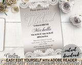 Bachelorette Weekend Invitation Editable in Traditional Lace Bridal Shower Brown And Silver Theme, editable invitation, prints - Z2DRE - Digital Product