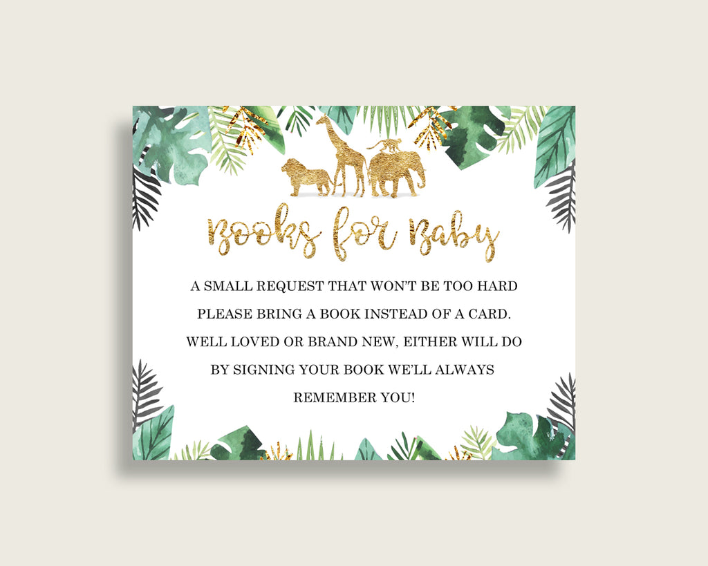 Jungle Baby Shower Bring A Book Insert Printable, Gender Neutral Gold Green Book Request, Jungle Books For Baby, Book Instead Of Card, EJRED