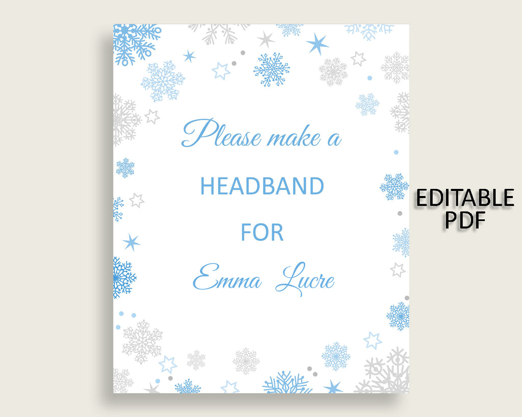 Headband Sign Baby Shower Headband Sign Snowflake Baby Shower