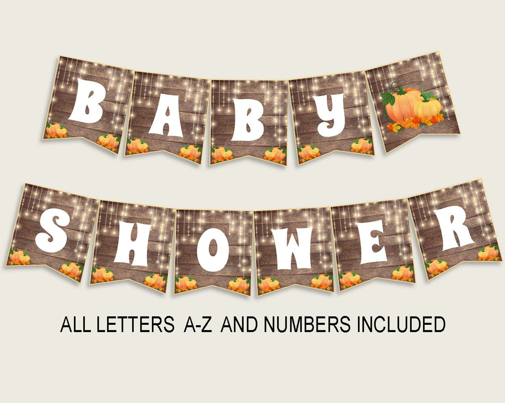 Banner Baby Shower Banner Autumn Baby Shower Banner Baby Shower Autumn Banner Brown Orange party organising party decorations party 0QDR3 - Digital Product