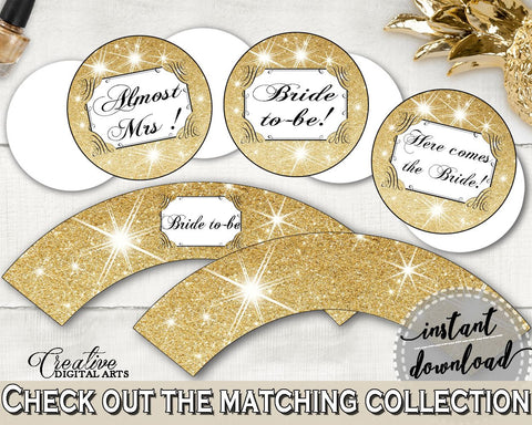 Gold And Yellow Glittering Gold Bridal Shower Theme: Cupcake Toppers And Wrappers - bridal decoration, party planning, party stuff - JTD7P - Digital Product