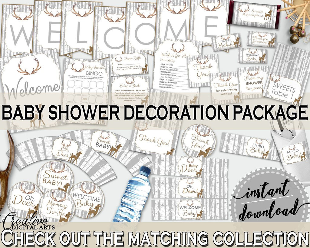 Decorations Baby Shower Decorations Deer Baby Shower Decorations Baby Shower Deer Decorations Gray Brown party planning, party stuff Z20R3 - Digital Product