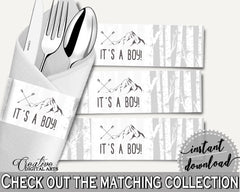 Napkin Rings Baby Shower Napkin Rings Adventure Mountain Baby Shower Napkin Rings Gray White Baby Shower Adventure Mountain Napkin S67CJ - Digital Product