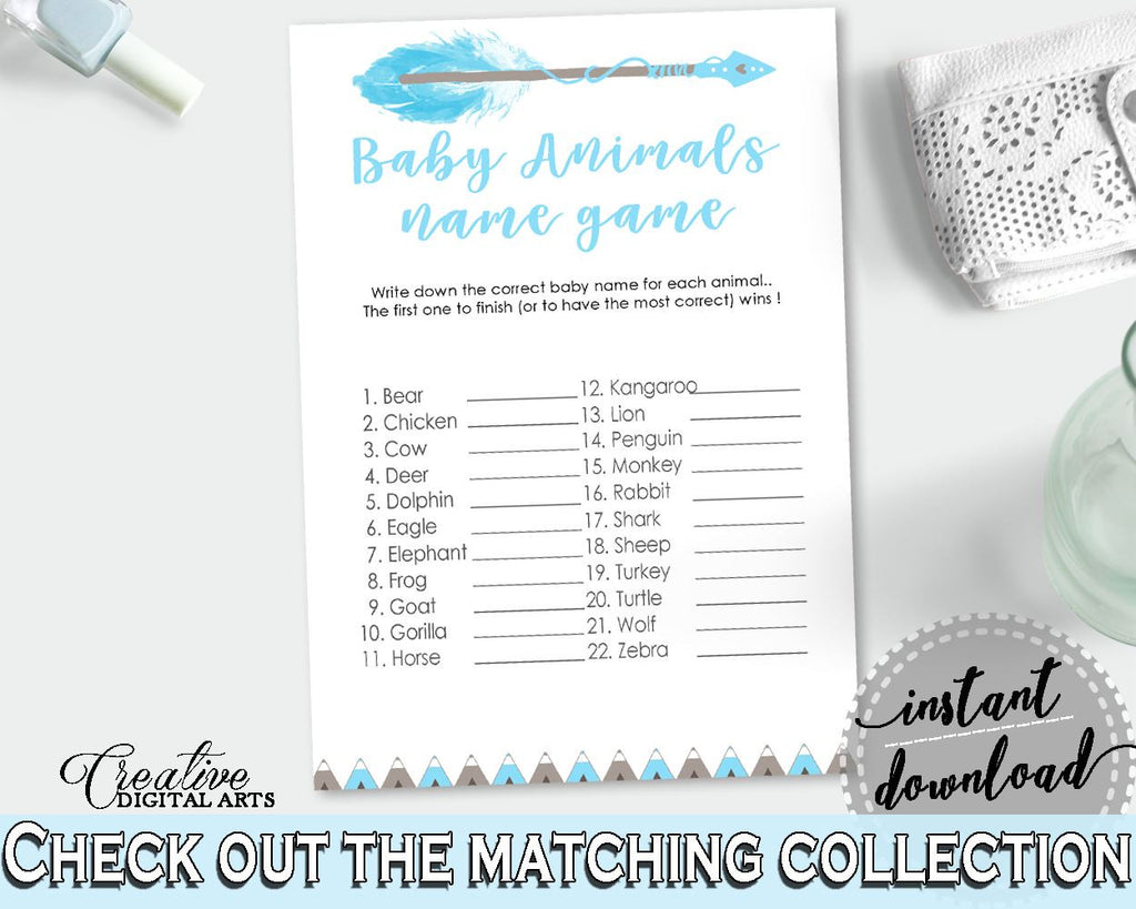 Baby Animal Names Baby Shower Baby Animal Names Aztec Baby Shower Baby Animal Names Blue White Baby Shower Aztec Baby Animal Names - QAQ18 - Digital Product