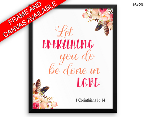Corinthians Print, Beautiful Wall Art with Frame and Canvas options available Christian Decor