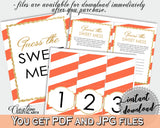 Baby shower GUESS the SWEET MESS game cards tents and sign with orange striped theme, glitter gold, Jpg Pdf, instant download - bs003