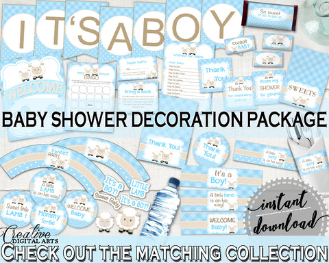 Little Lamb Decoration Baby Shower Boy package blue bundle set printable sheep theme decor, digital files Jpg Pdf - Instant Download - fa001