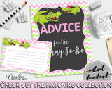 ADVICE FOR THE MOMMY TO BE and ADVICE FOR THE NEW PARENTS baby shower activities with green alligator and pink color theme, instant download - ap001