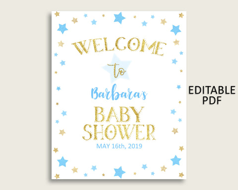 Blue Gold Stars Baby Shower Welcome Sign Printable, Party Large Sign, Editable Welcome Sign Boy, Yard Sign, Instant Download, Little bsr01