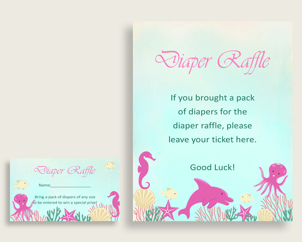 Pink Under the Sea Printable Baby Shower Diaper Raffle Tickets