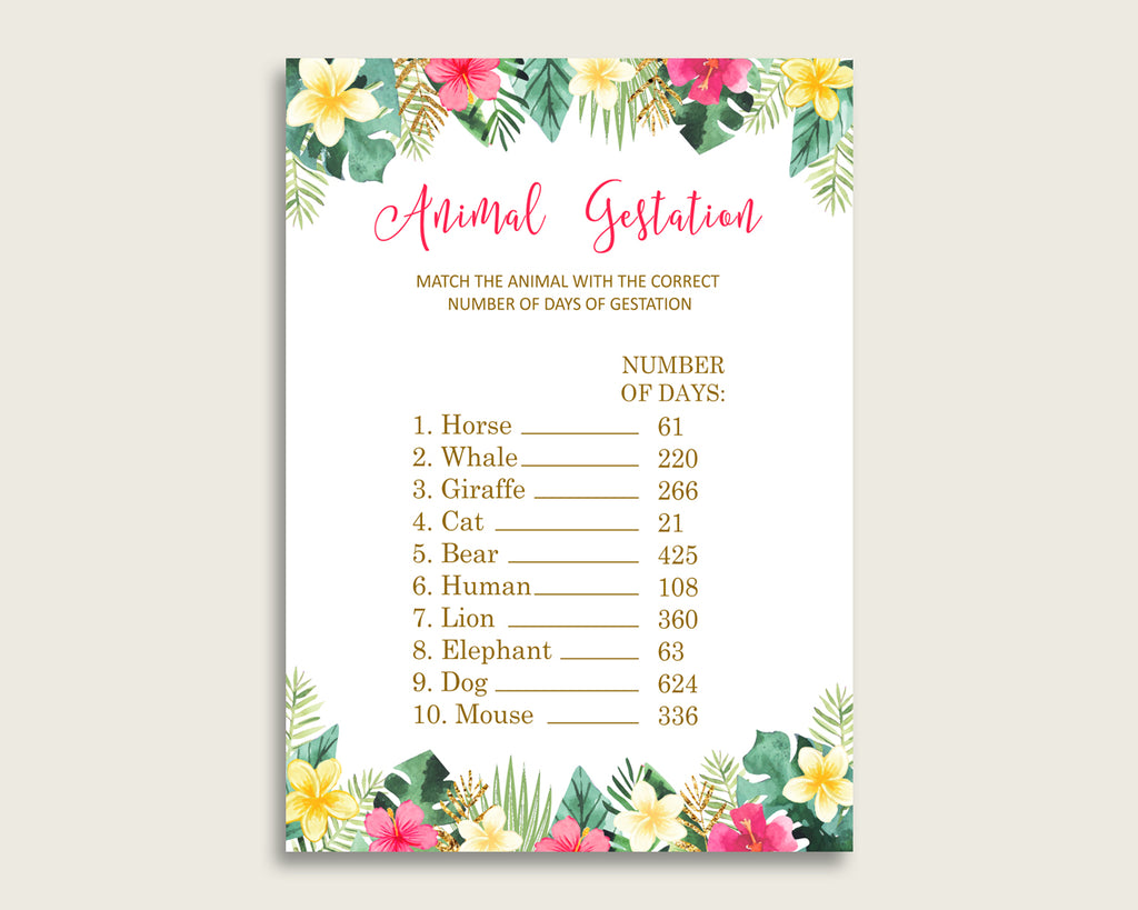 Hawaiian Animal Pregnancy Gestation Game, Pink Green Baby Shower Girl Printable Activities, Instant Download, Summer Theme Luau Aloha 955MG