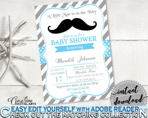 Blue Gray Editable Invitation, Baby Shower Editable Invitation, Mustache Baby Shower Editable Invitation, Baby Shower Mustache 9P2QW - Digital Product