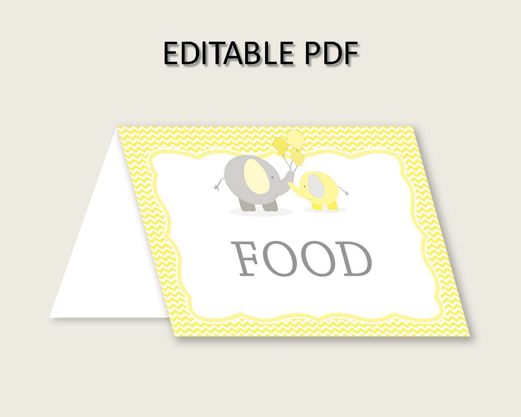Food Tents Baby Shower Food Tents Yellow Baby Shower Food Tents Baby Shower Elephant Food Tents Yellow Gray printable files pdf jpg W6ZPZ