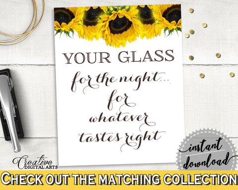 Your Glass For The Night Bridal Shower Your Glass For The Night Sunflower Bridal Shower Your Glass For The Night Bridal Shower SSNP1 - Digital Product