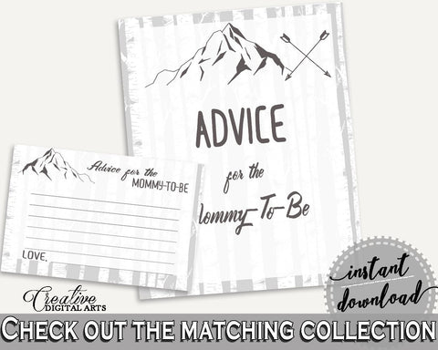 Advice Cards Baby Shower Advice Cards Adventure Mountain Baby Shower Advice Cards Gray White Baby Shower Adventure Mountain Advice S67CJ - Digital Product