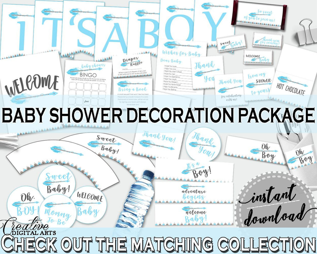 Decorations Baby Shower Decorations Aztec Baby Shower Decorations Blue White Baby Shower Aztec Decorations instant download, pdf jpg QAQ18 - Digital Product