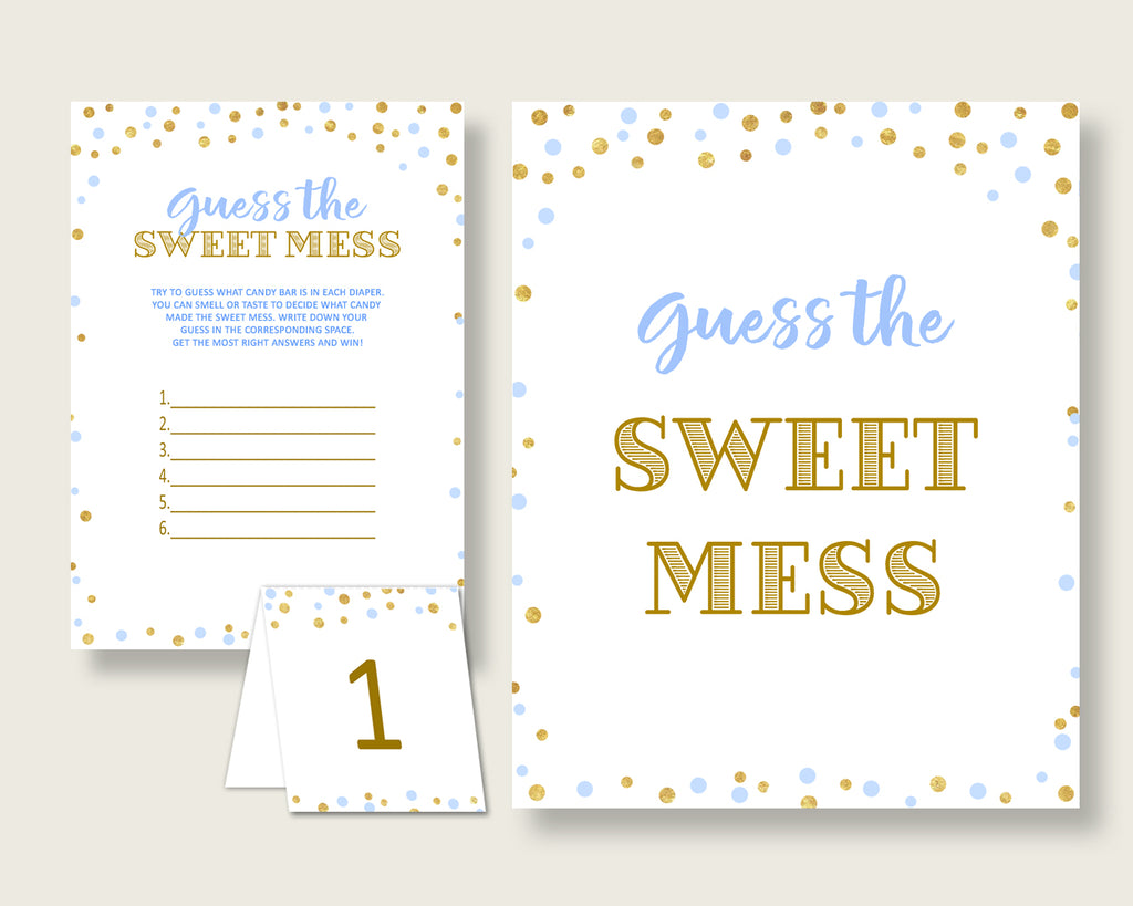 Sweet Mess Baby Shower Sweet Mess Confetti Baby Shower Sweet Mess Blue Gold Baby Shower Confetti Sweet Mess instant download prints cb001