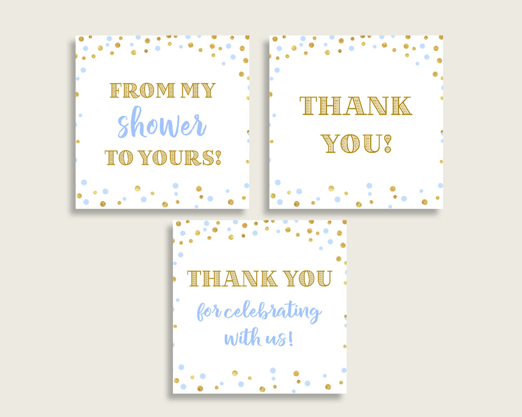 Thank You Tags Baby Shower Thank You Tags Confetti Baby Shower Thank You Tags Blue Gold Baby Shower Confetti Thank You Tags prints cb001