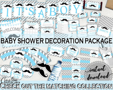 Blue Gray Decoration Package, Baby Shower Decoration Package, Mustache Baby Shower Decoration Package, Baby Shower Mustache Decoration 9P2QW - Digital Product