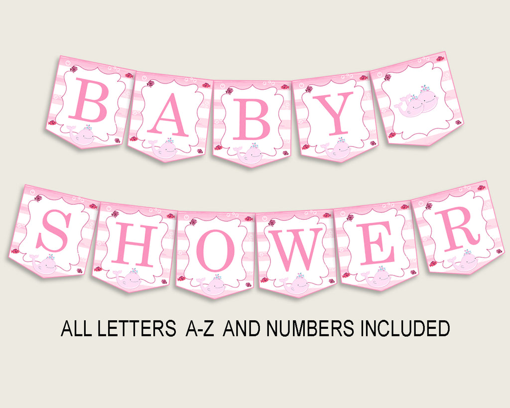 Banner Baby Shower Banner Pink Whale Baby Shower Banner Baby Shower Pink Whale Banner Pink White Popular Baby Whale Sea Animals wbl02